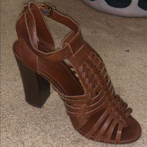 Brown Strappy Block Heels